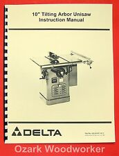 "DELTA-ROCKWELL 10"" Tilting Arbor Unisaw Instructions and Parts Manual 0244"