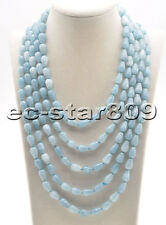 "S2245 long 100"" 12mm Drop Wathet Blue Aquamarine Bead Necklace"