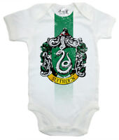 "Harry Potter Baby Bodysuit ""Slytherin House Crest"" Baby grow Vest Hogwarts"
