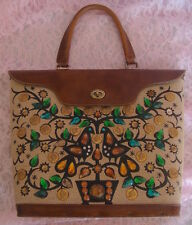 Vtg Rare 1960's ENID COLLINS Purse Tote Bucket Bag IT GROWS ON TREES III Jeweled