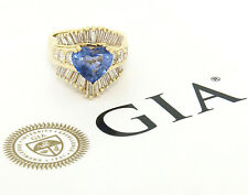 14K Yellow Gold 4.70ctw GIA Heart Cut Sapphire & Diamond Statement Cocktail Ring