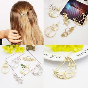 Women's Girls Geometric Metal Hair Clips Barrette Slide Grips Hair Clip Hairpins