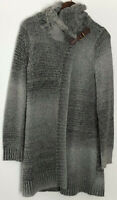 LL BEAN SIGNATURE Tweed Wrap Size XS Gray Leather Bit Cardigan Sweater Coat Long