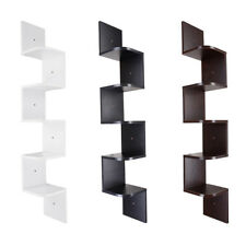 5 Tier Wooden Corner Shelf Zig Zag Floating Wall Mount Storage Display Rack Home