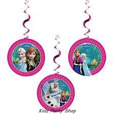 Disney Frozen Birthday Party - 3 Hanging Swirl Decorations  - Free Post in UK