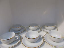 tognana italy demitasse cups & saucers x 6 (white with gold trim)