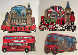 3D WOODEN FRIDGE MAGNETS SET OF 4 LONDON ICONS SOUVENIR FREE UK POSTAGE