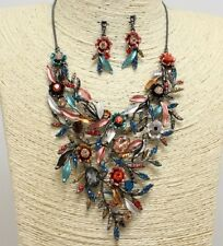 Multi Colored Floral Crystal FASHION Necklace Set
