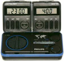 Philips D1868 Travel Folding Fm Radio + Case w/ Dual Digital World Clocks Alarm