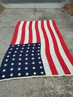 Vintage 1930-1940s 48 Star American wool Flag 8x12 FEET sewn down stars