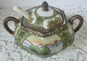 Antique Imperial Nippon Mustard Condiment Jam Pot Woodland Hand Painted Scenic