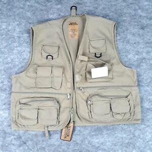 Master Sportsman Vest Extra Large Mens Khaki Fishing Wading Cargo Extra Pockets