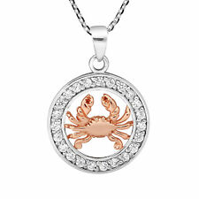 Trendy Crab Zodiac Sign Cancer Rose Gold and Sterling Silver Necklace