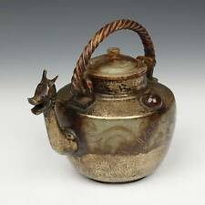 RARE ANTIQUE TEAPOT HARDSTONE BRASS ROCK CRYSTAL DRAGON NEPAL 19TH C.