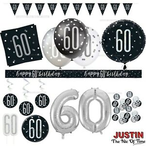 Black 60th Birthday Party Decorations Boys Mens Male Balloons Banners Age 60
