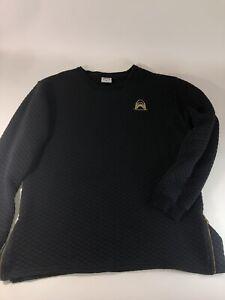 Mens Tiger Shark XL Black Thermal Quilted Fleece Sweatshirt Zipper Sides Gold