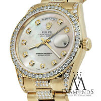 Rolex Yellow Gold Presidential Day Date White Dial Diamond Watch 18 KT Gold