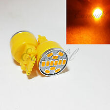 3157 3157A Yellow Round 12 SMD Samsung Chip LED x2 Bulb #St15 Front Turn Signal