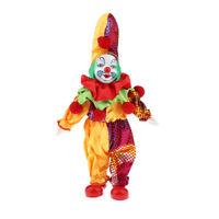 Porcelain Hanging Foot Clown Doll Harlequin Doll, Home Office Desk Shelf Display