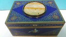 ANTIQUE CHINESE BRONZE CLOISONNE JEWELRY BOX WITH HAND CUT JADE INLAY