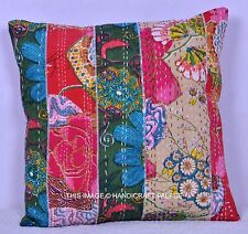 """Indian Handmade Multicolor Cushion Cover Kantha Patchwork Pillow Case 16"""" Ethnic"""