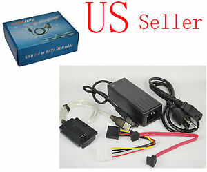 """USB 2.0 to SATA IDE 2.5"""" 3.5"""" External Adapter Transfer Cable Kit DVD Hard Disk"""