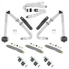 3pt Wht Retractable Front Seat Belts With Middle 2pt Lap Belt Kit For Bench Seat