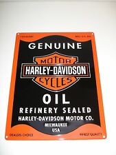 "Harley-Davidson ""Genuine Motor Oil""  Embossed Ande Rooney Sign 12 Wide x16 High"