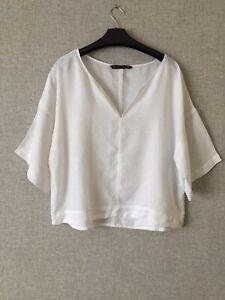 Zara lovely white Linen oversize Top Size XL  Oversized
