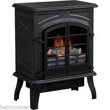 QUALITY CRAFT ~BLACK ANTIQUE ELECTRIC STOVE HEATER WITH BLOWER~ FREE STANDING