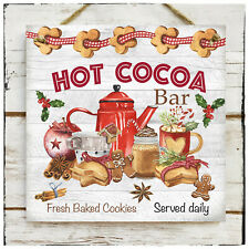 Wooden Hanging sign Christmas Hot Cocoa Bar cookies Winter market Coffee shop