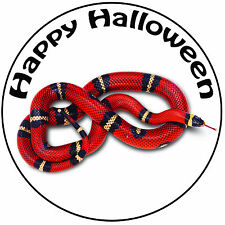"Halloween Red Snake Cake Topper - Easy Pre-cut Round 8"" (20cm) Icing Decoration"