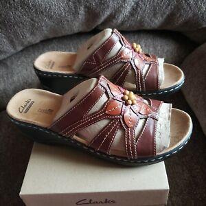 Clarks Bendables Lexi Myrtle Leather Slides Bead Brown Multi 11W NIB A231110