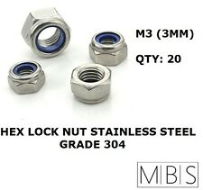 100 x M3 Stainless Steel 304 A2 Hex Nyloc Nut 3mm Nylon Insert Lock Nuts DIY
