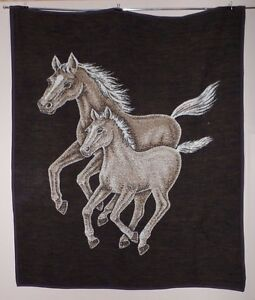 HTF RARE Oversized Wool Blanket 66 X 54 Horse & Foal Themed Reversible preowned