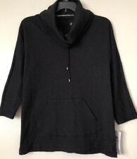 Style & Co Sport Women's Black 3/4 Sleeve Cowl Neck Stretch Knit Top Size PM NWT