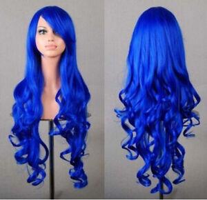 Cute 80cm Long Curly Wigs Cosplay Costume Hair Anime New Full Wavy Halloween Wig