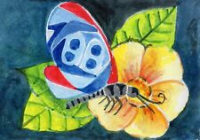 ACEO Original Modern Art Card Diaethria Clymena Butterfly Insect Flower Gift