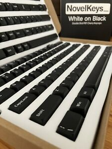 Novelkeys WoB White On Black Doubleshot Keycaps Thocky PBT - Mint Complete CIB