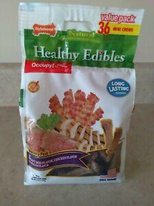 Nylabone Healthy Edibles, 36 mini dog chews, beef, chicken & bacon, exp 05/04/23