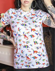 Run & Fly 80's /90's retro White Rainbow Dinosaur T-Shirt