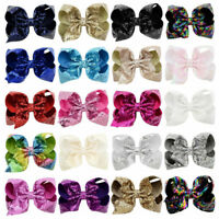8 inch Big Sequin Hair Bow Alligator Clips Headwear Girls Hair Accessories Gift