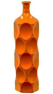 Urban Trends Collection Orange Ceramic Vase Gloss Finish 18 Inches Tall