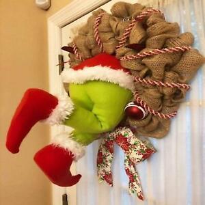 Christmas Thief Burlap Stealer Design Home Front Door Wreath Hoop Xmas Decor