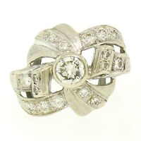Vintage 14k White Gold 1.0ctw Round Brilliant & Single Cut Diamond Cocktail Ring