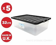 5 x 32 LITRE UNDER-BED PLASTIC STORAGE BOX - CLEAR BOX WITH BLACK LID - CHEAP!!