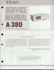 Orig Factory Teac A-380 Stereo Cassette Deck Service Manual Parts List Schematic