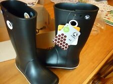 Crocs New in a box womens size 5 crocband Jaunt Rain Boot black roomy fit lovely
