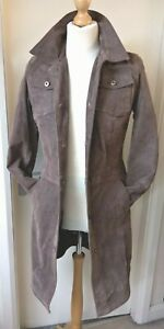 Vintage Leather Trench Coat by Zarro Ladies Womens Size 10 Brown Pigskin/suede