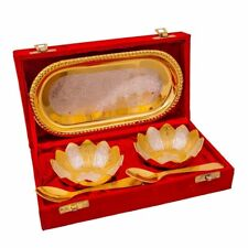 Laddu Gopal Silver Plated Brass Gold Plated Bowls And Spoon With Tray Set